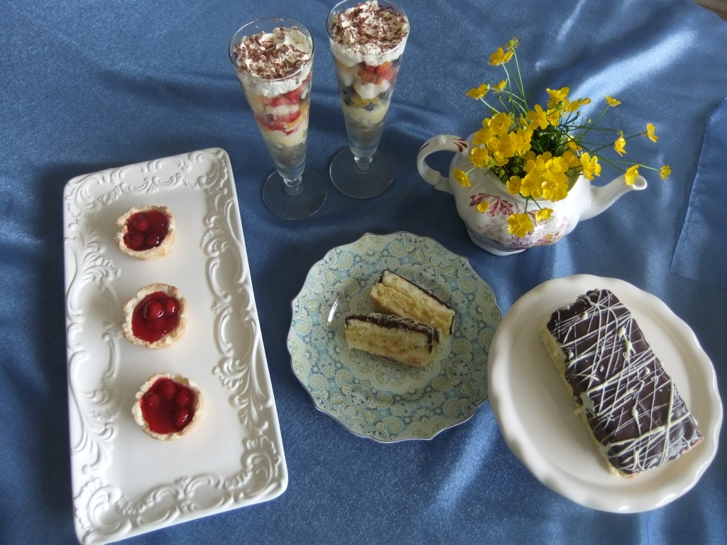 Fruit Trifle Parfait Cherry Tarts Boston Monster Cake (a cake for two love birds to share  :)