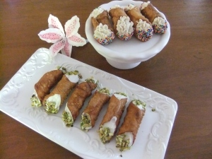 Traditional Italian Style Cannoli's,  Handmade Cannoli Shells, filled with a Fresh Ricotta Filling.