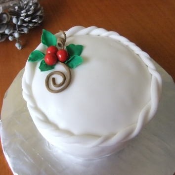 Individual Rum Fruitcake Elegantly covered in Fondant.