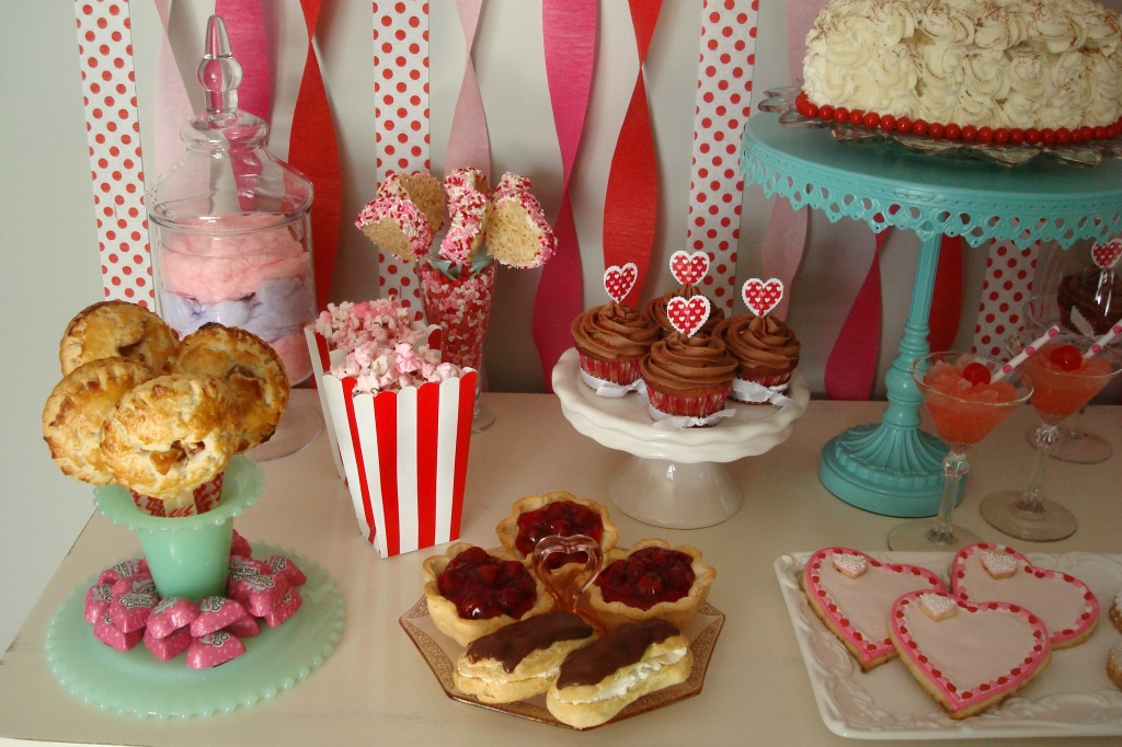 Apple Pie Pops Raspberry Pie Pops Old Fashioned Pink Popcorn Cherry Tarts Chocolate Eclairs Red Velvet Cupcakes Heart Shaped Rice Krispie's Pops Tiramisu Heart Cake Lemon/Lime CookiesRaspberry Linzer Cookies