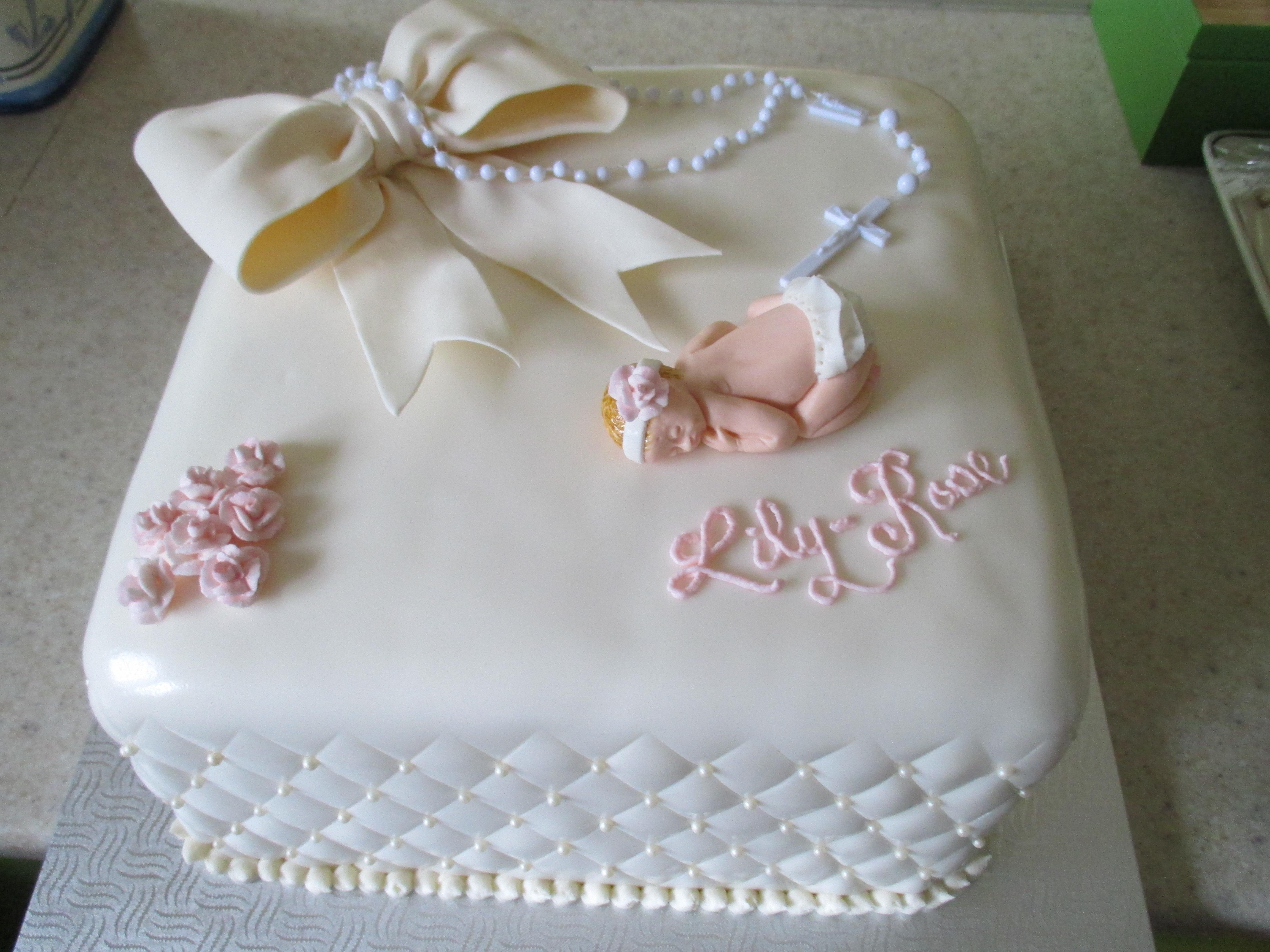 Girly Girl Baptism Cake