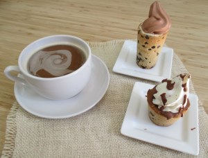 Soft Serve Cookie Shots lined with Belgium Chocolate.