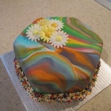 Tye Dye Mocha Cake