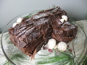 Vanilla with Chocolate Butter cream &  Mocha Cream Filled Yule Log.