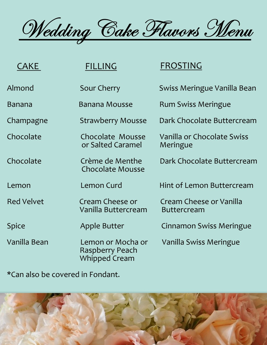 wedding cake flavor menu